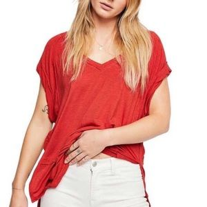 Free People | Voyage V Neck Tee Shirt Small Red